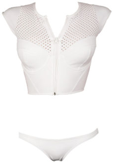 womens white crop top rash guard