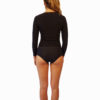 Womens black long sleeve rash guard with high waist bikini bottoms